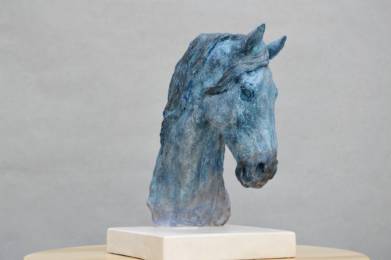 Horse Head VII : A study in patinated bronze jesmonite by Kate Woodlock