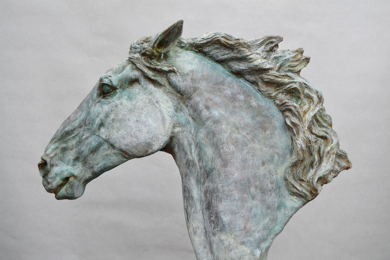 Horse Head VI - Image 3 : A study in patinated bronze jesmonite by Kate Woodlock