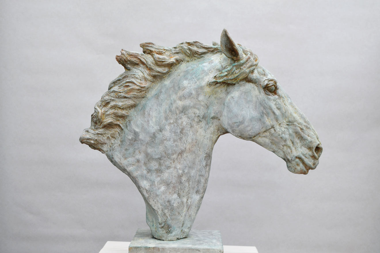 Horse Head VI - Image 1 : A study in patinated bronze jesmonite by Kate Woodlock
