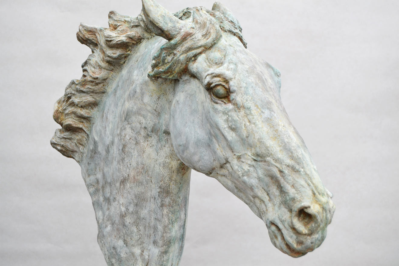 Horse Head VI - Image 2 : A study in patinated bronze jesmonite by Kate Woodlock