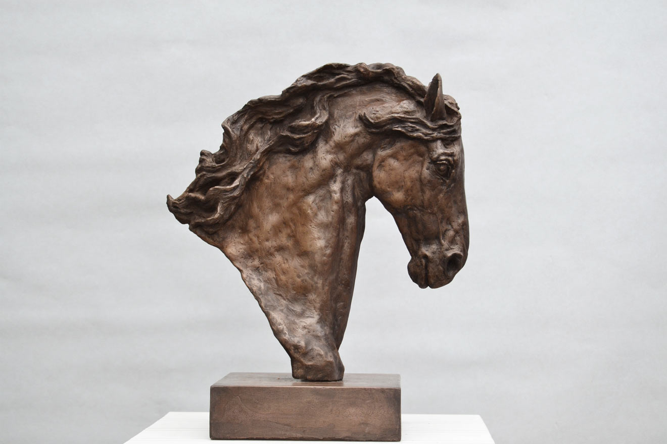 Horse Head IV - Image 1 : A study in bronze jesmonite by Kate Woodlock