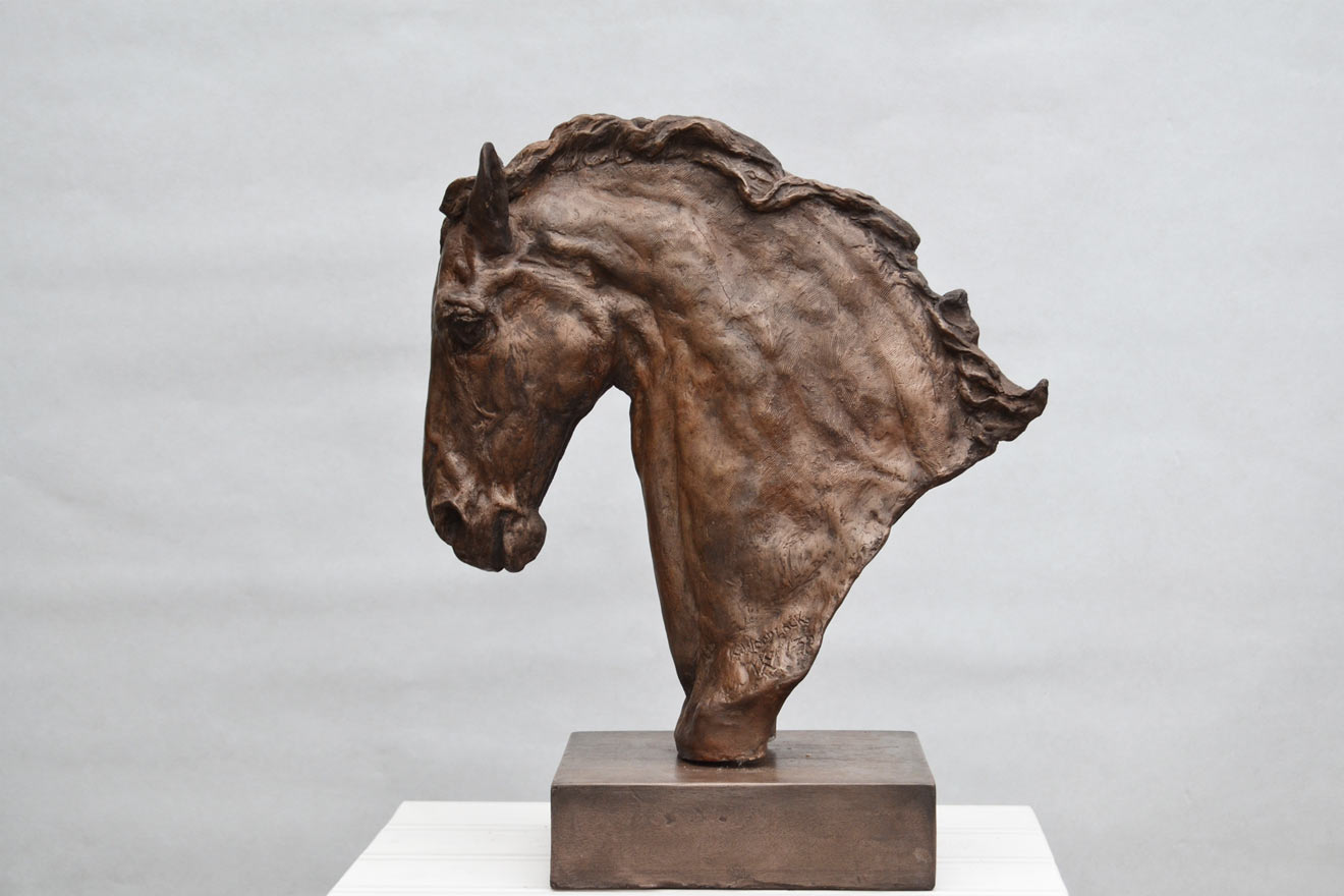Horse Head IV - Image 3 : A study in bronze jesmonite by Kate Woodlock