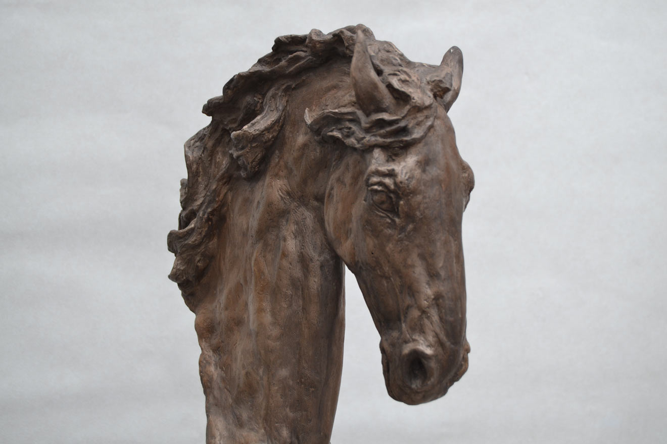 Horse Head IV - Image 2 : A study in bronze jesmonite by Kate Woodlock