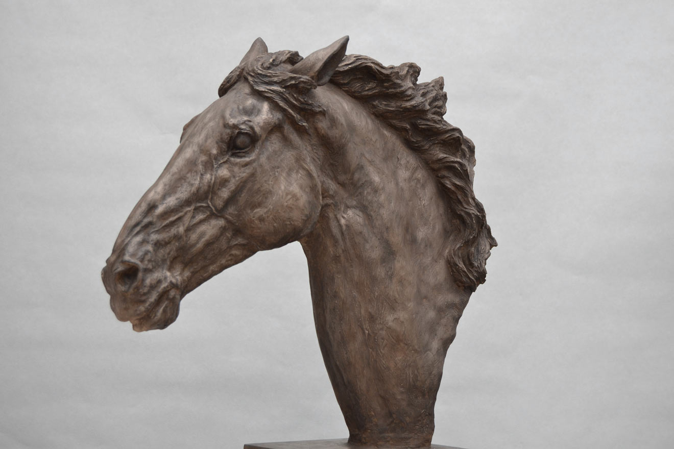 Horse Head VI - Image 3 : A study in bronze jesmonite by Kate Woodlock