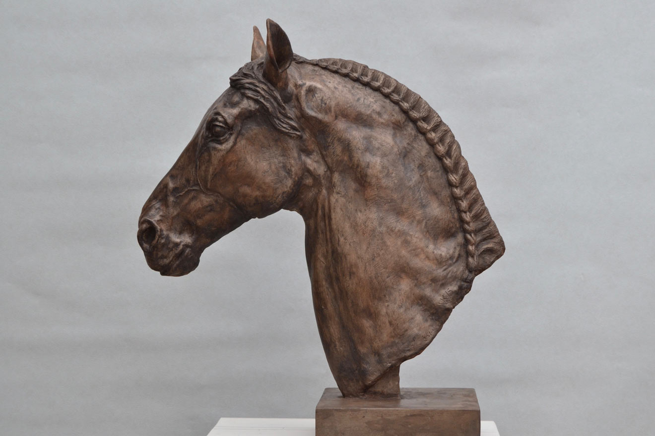 Horse Head V - Image 3 : A study in bronze jesmonite by Kate Woodlock