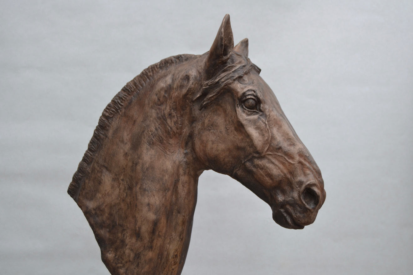 Horse Head V - Image 1 : A study in bronze jesmonite by Kate Woodlock