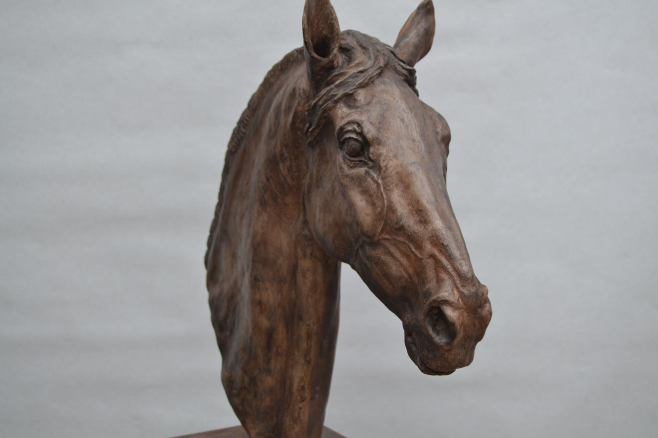Horse Head V - Image 2 : A study in bronze jesmonite by Kate Woodlock