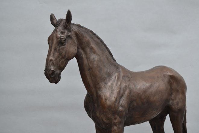 Standing Horse III : A sculpture in bronze jesmonite by Kate Woodlock