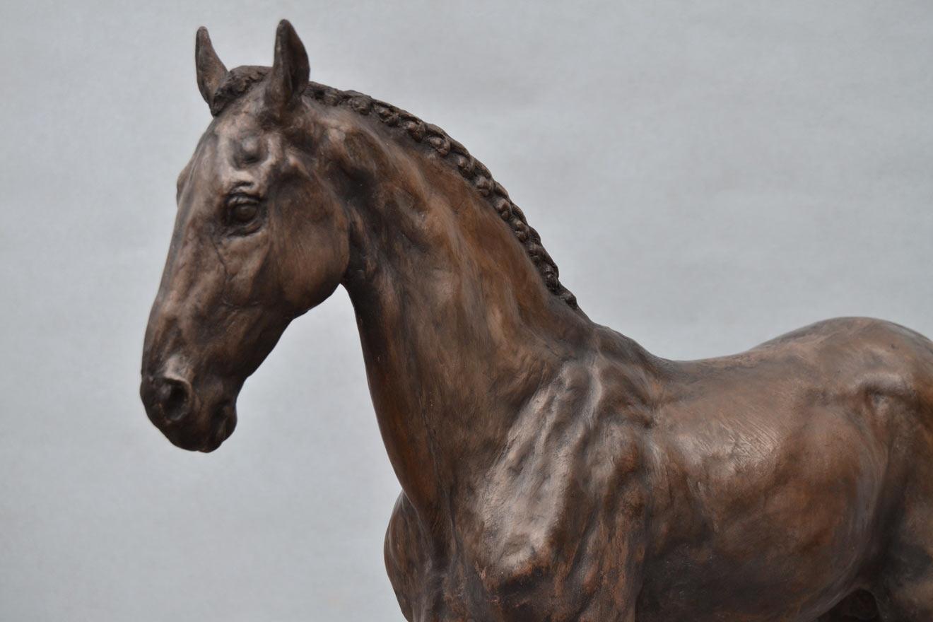 Standing Horse III - Image 2 : A sculpture in bronze jesmonite by Kate Woodlock