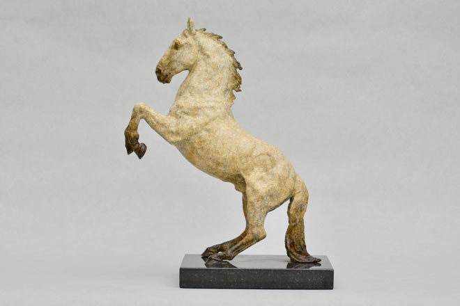 Spanish Horse Rearing : A sculpture in patinated foundry bronze by Kate Woodlock