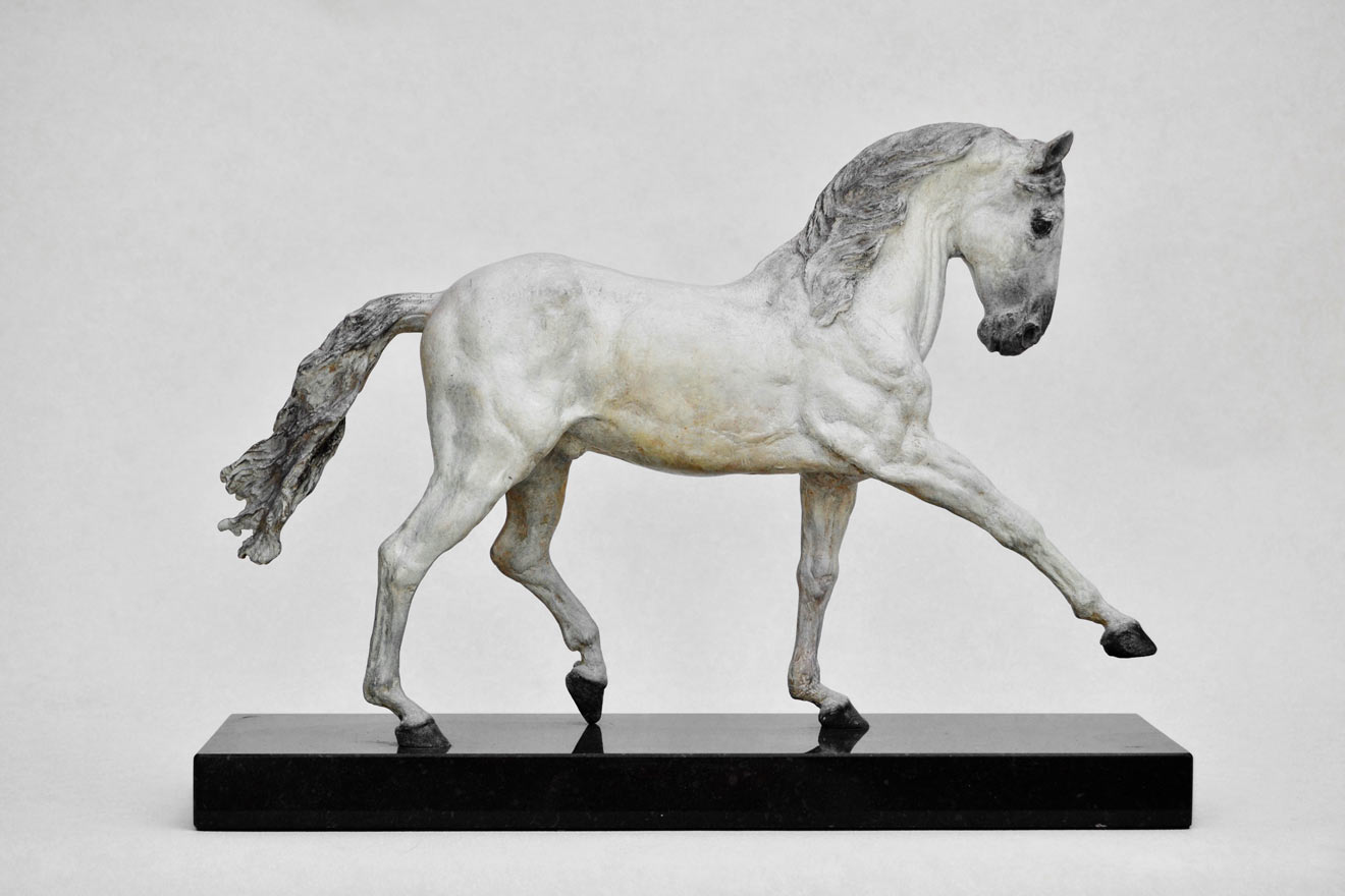 Spanish Horse Walking - Image 1 : A sculpture in patinated foundry bronze by Kate Woodlock
