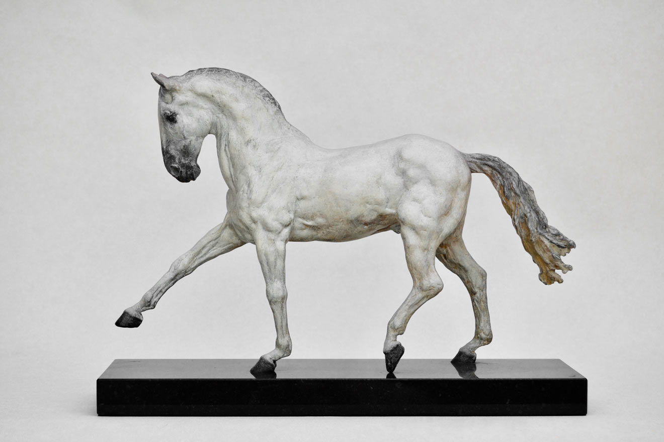 Spanish Horse Walking - Image 3 : A sculpture in patinated foundry bronze by Kate Woodlock
