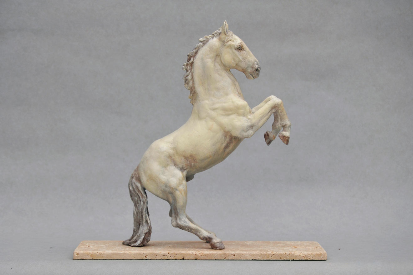 Spanish Horse Rearing - Image 1 : A sculpture in patinated foundry bronze by Kate Woodlock