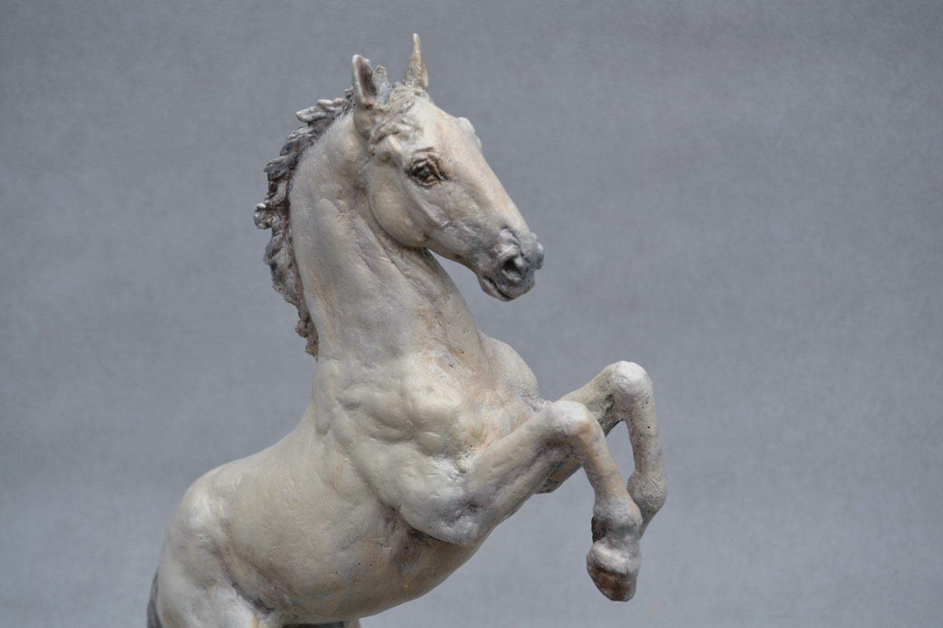 Spanish Horse Rearing - Image 2 : A sculpture in patinated foundry bronze by Kate Woodlock