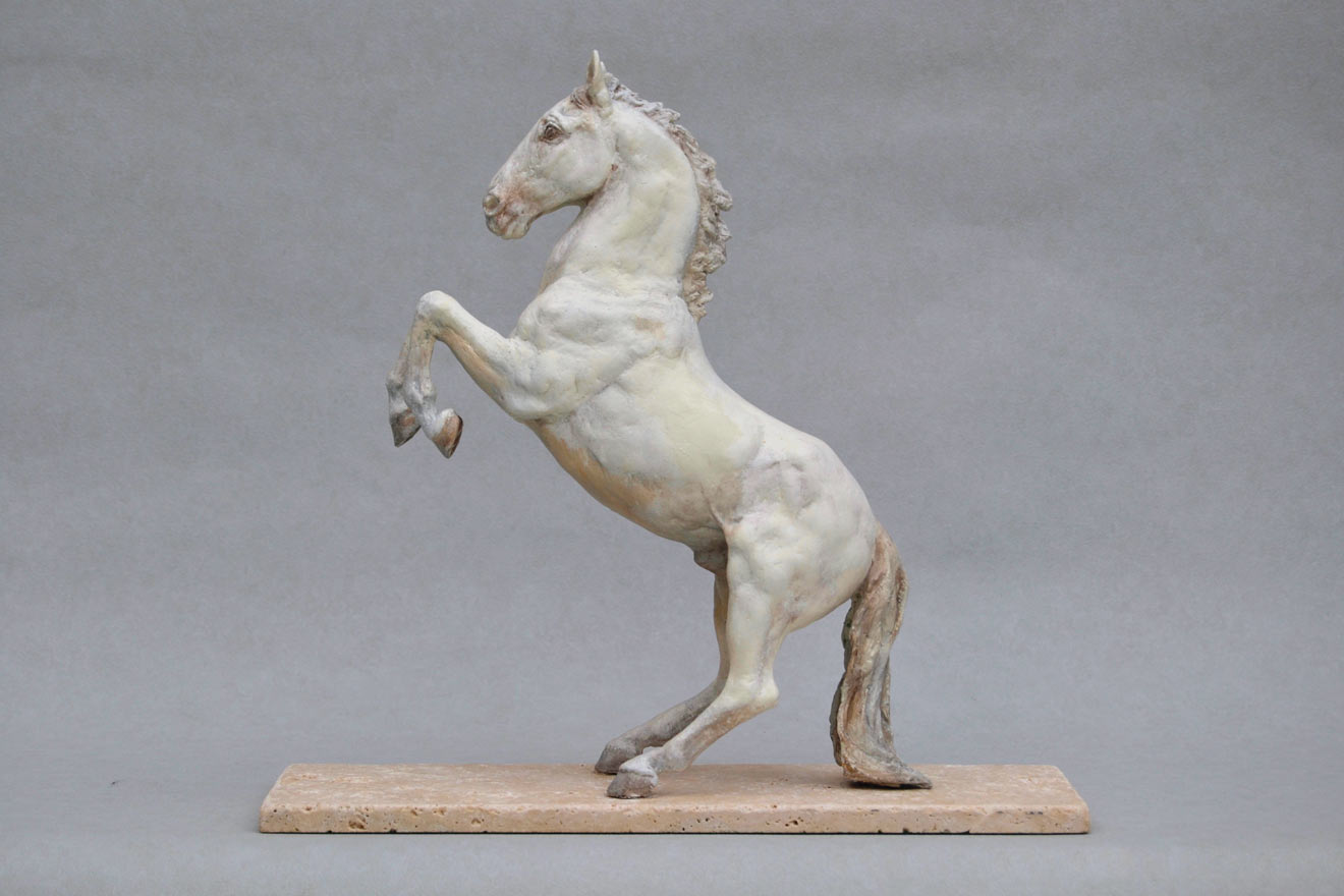 Spanish Horse Rearing - Image 3 : A sculpture in patinated foundry bronze by Kate Woodlock