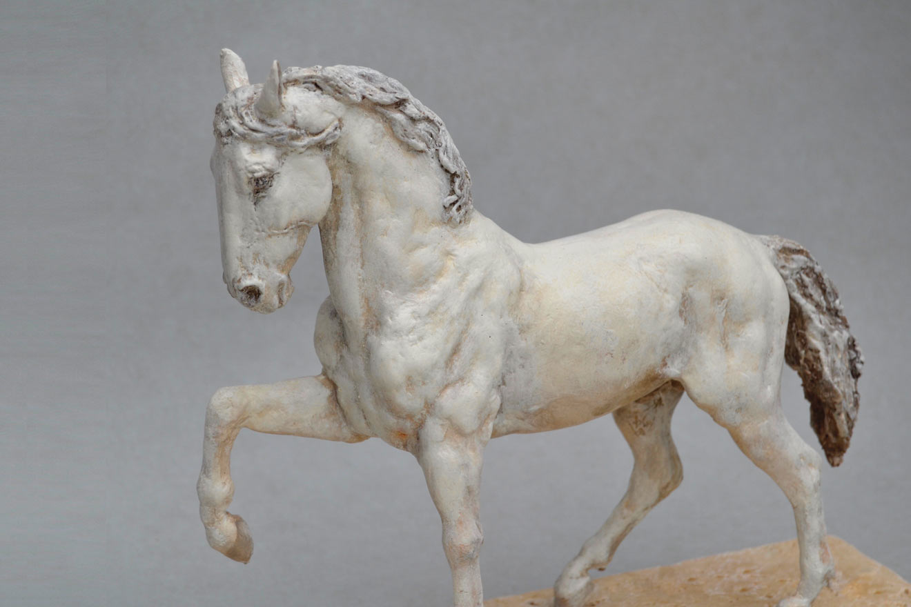 Spanish Horse Stepping - Image 2 : A sculpture in patinated foundry bronze by Kate Woodlock
