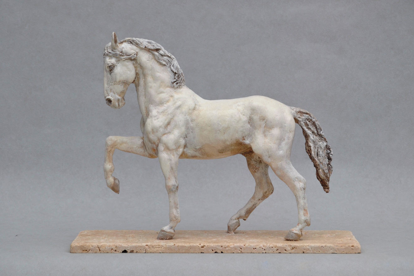Spanish Horse Stepping - Image3 : A sculpture in patinated foundry bronze by Kate Woodlock