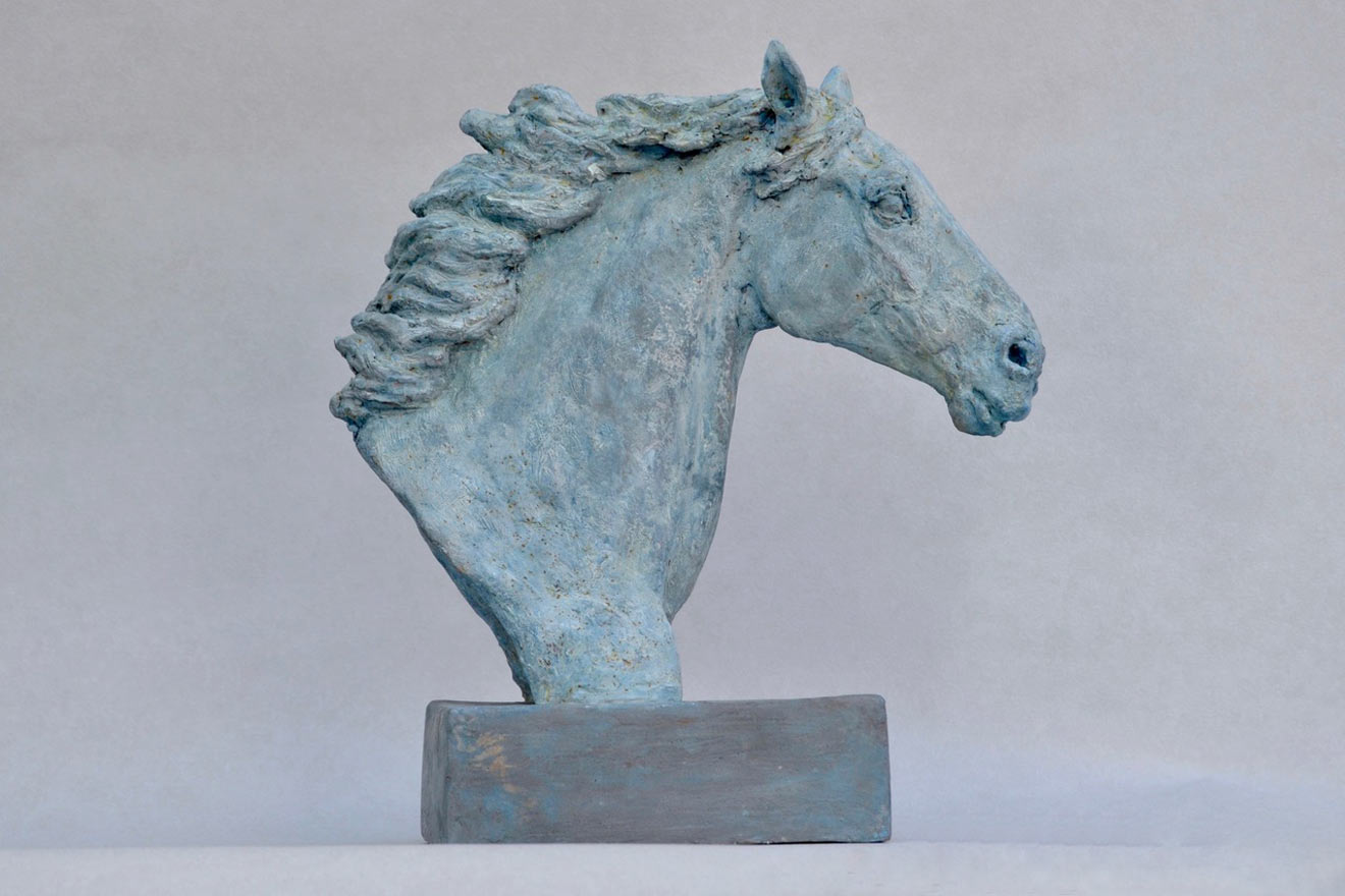 Horse Head VIII - Image 1 : A study in patinated bronze jesmonite by Kate Woodlock