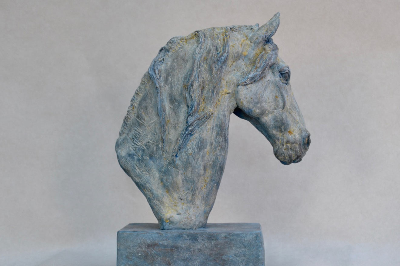 Horse Head VII - Image 1 : A study in patinated bronze jesmonite by Kate Woodlock