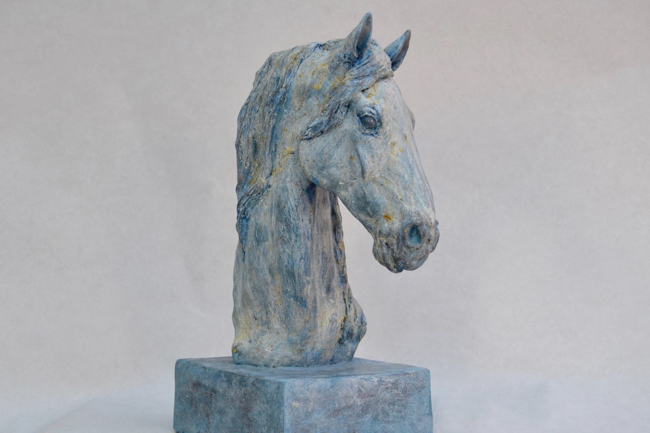 Horse Head VII - Image 2 : A study in patinated bronze jesmonite by Kate Woodlock