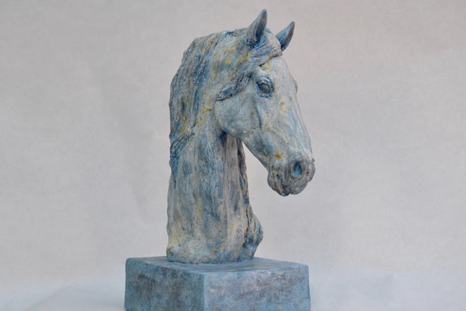Horse Head VII : A study in patinated bronze jesmonite by Kate Woodlock