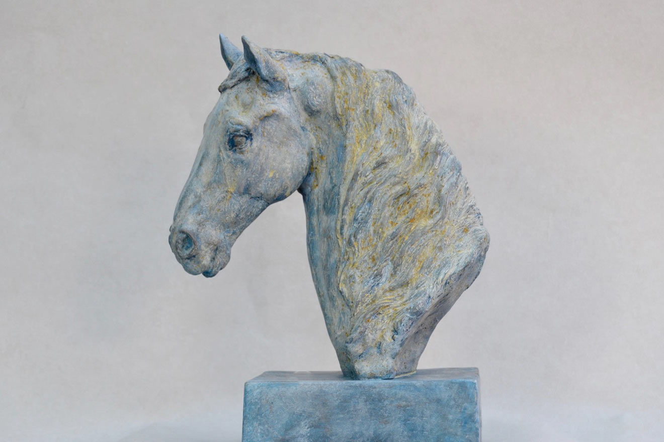 Horse Head VII - Image 3 : A study in patinated bronze jesmonite by Kate Woodlock