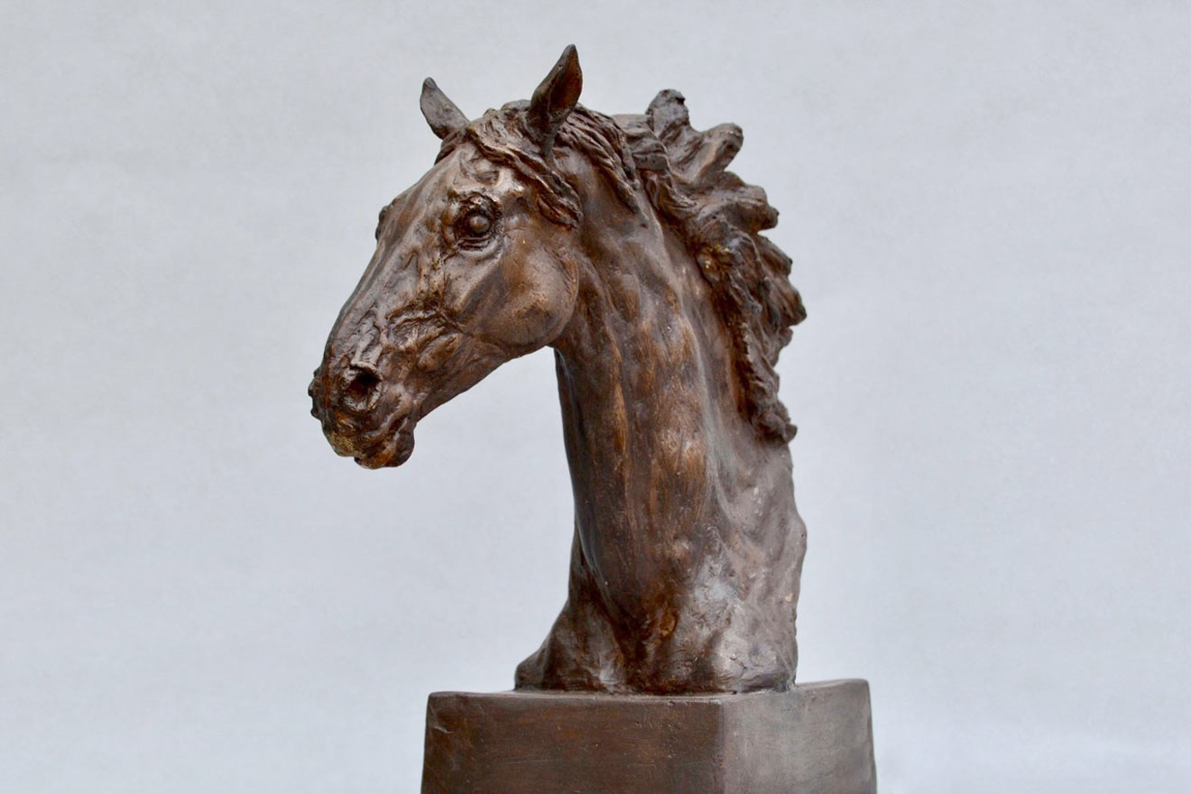 Horse Head VIII - Image 2 : A study in bronze jesmonite by Kate Woodlock