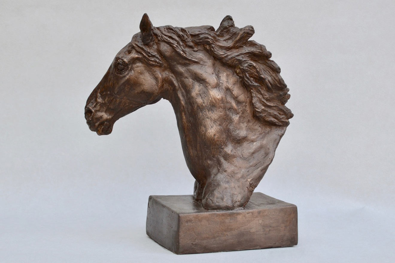 Horse Head VIII - Image 3 : A study in bronze jesmonite by Kate Woodlock