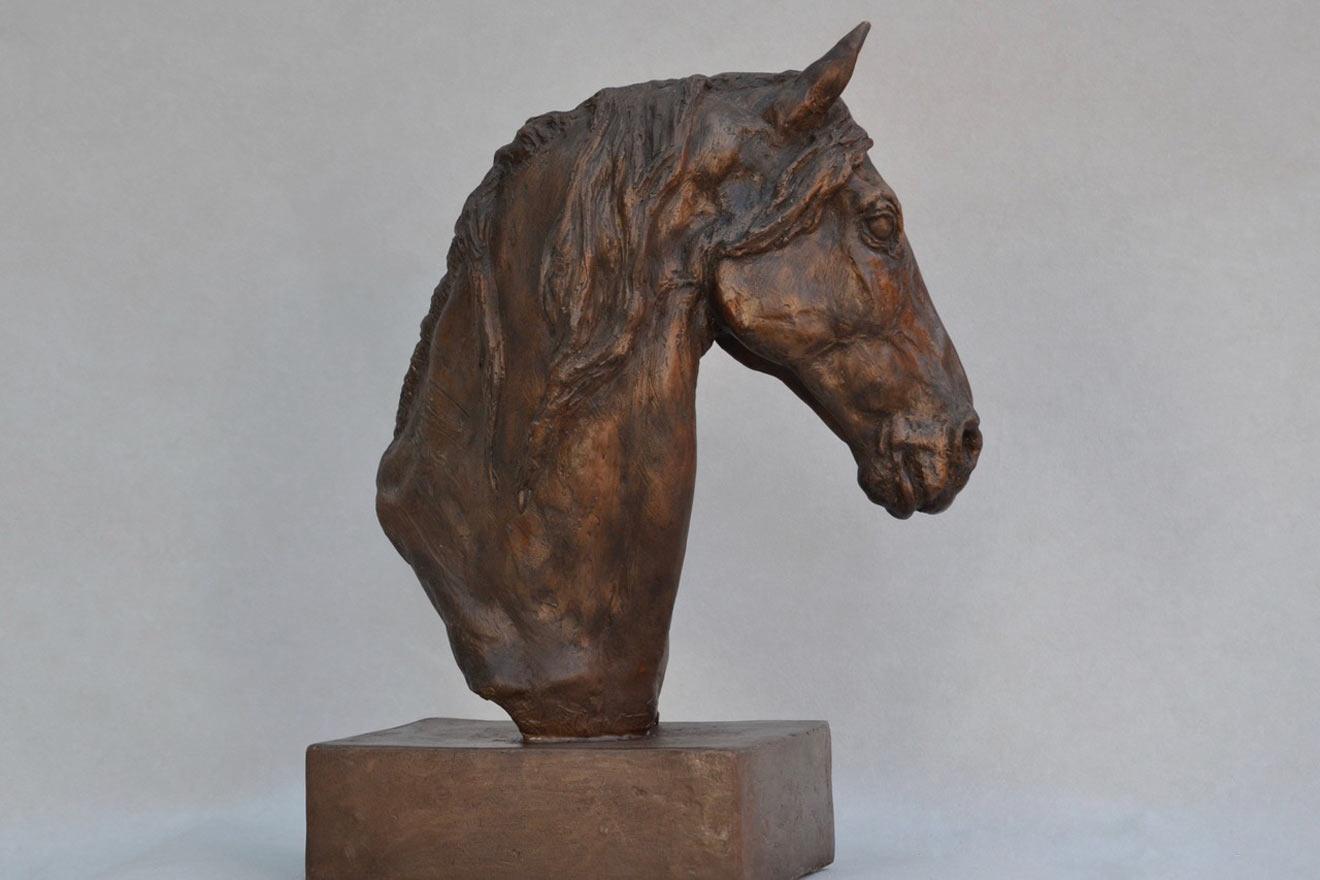 Horse Head VII - Image 1 : A study in bronze jesmonite by Kate Woodlock