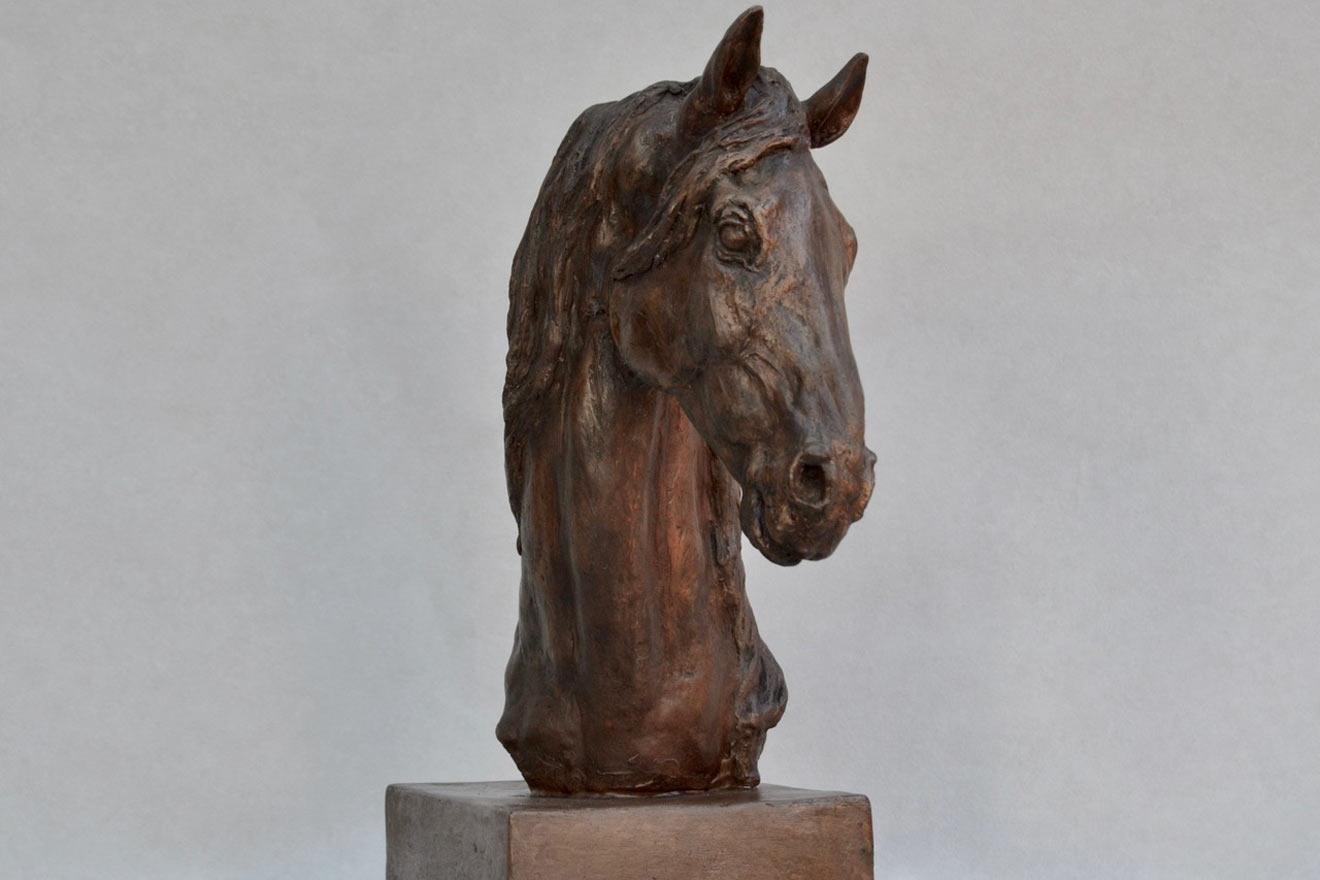 Horse Head VII - Image 2 : A study in bronze jesmonite by Kate Woodlock