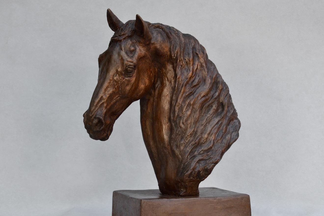 Horse Head VII - Image 3 : A study in bronze jesmonite by Kate Woodlock