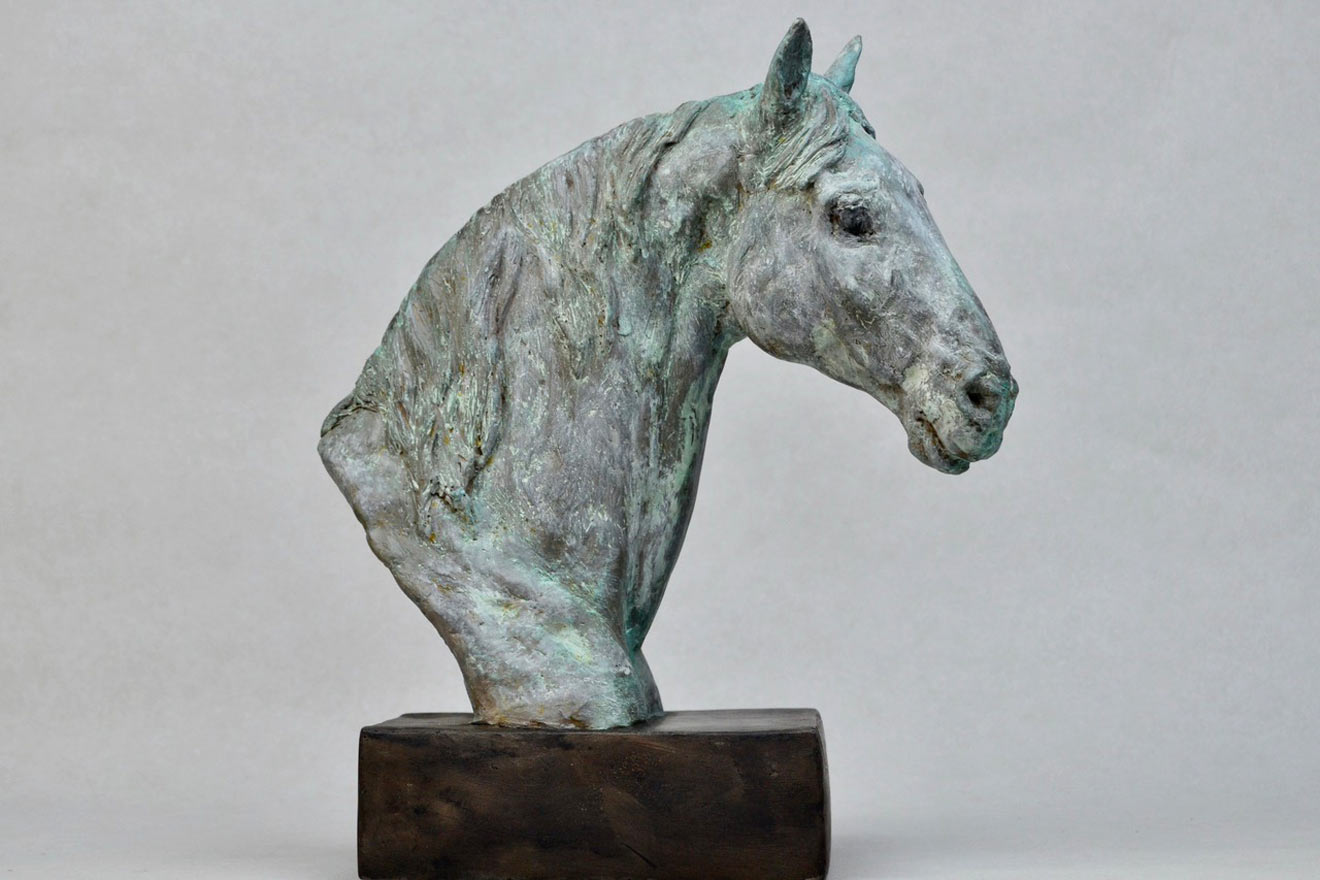 Horse Head IX - Image 1 : A study in patinated bronze jesmonite by Kate Woodlock