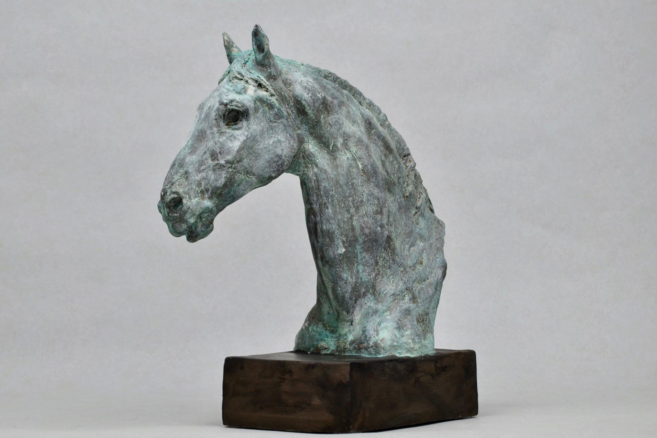 Horse Head IX - Image 2 : A study in patinated bronze jesmonite by Kate Woodlock