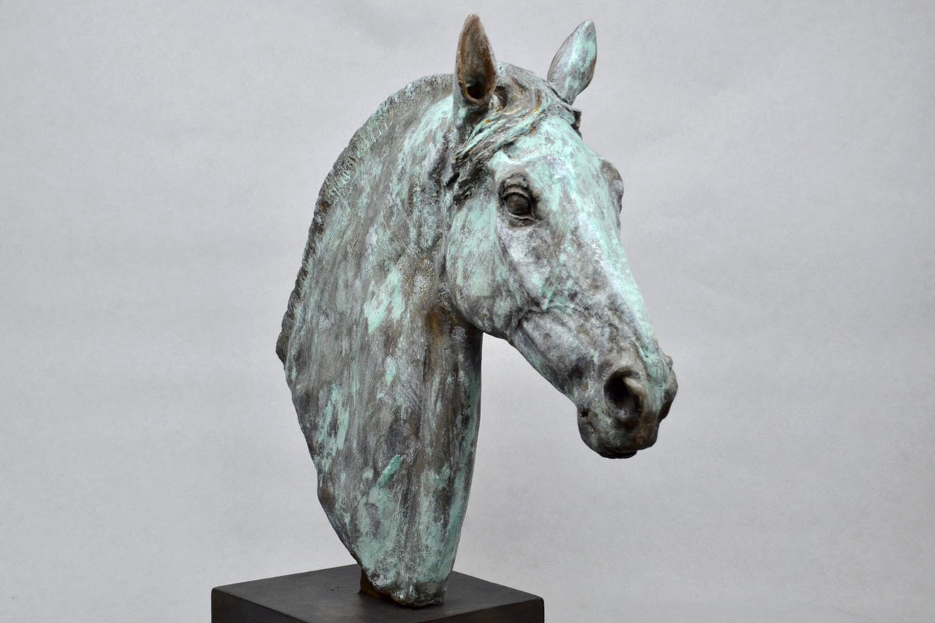Horse Head V - Image 2 : A study in patinated bronze jesmonite by Kate Woodlock