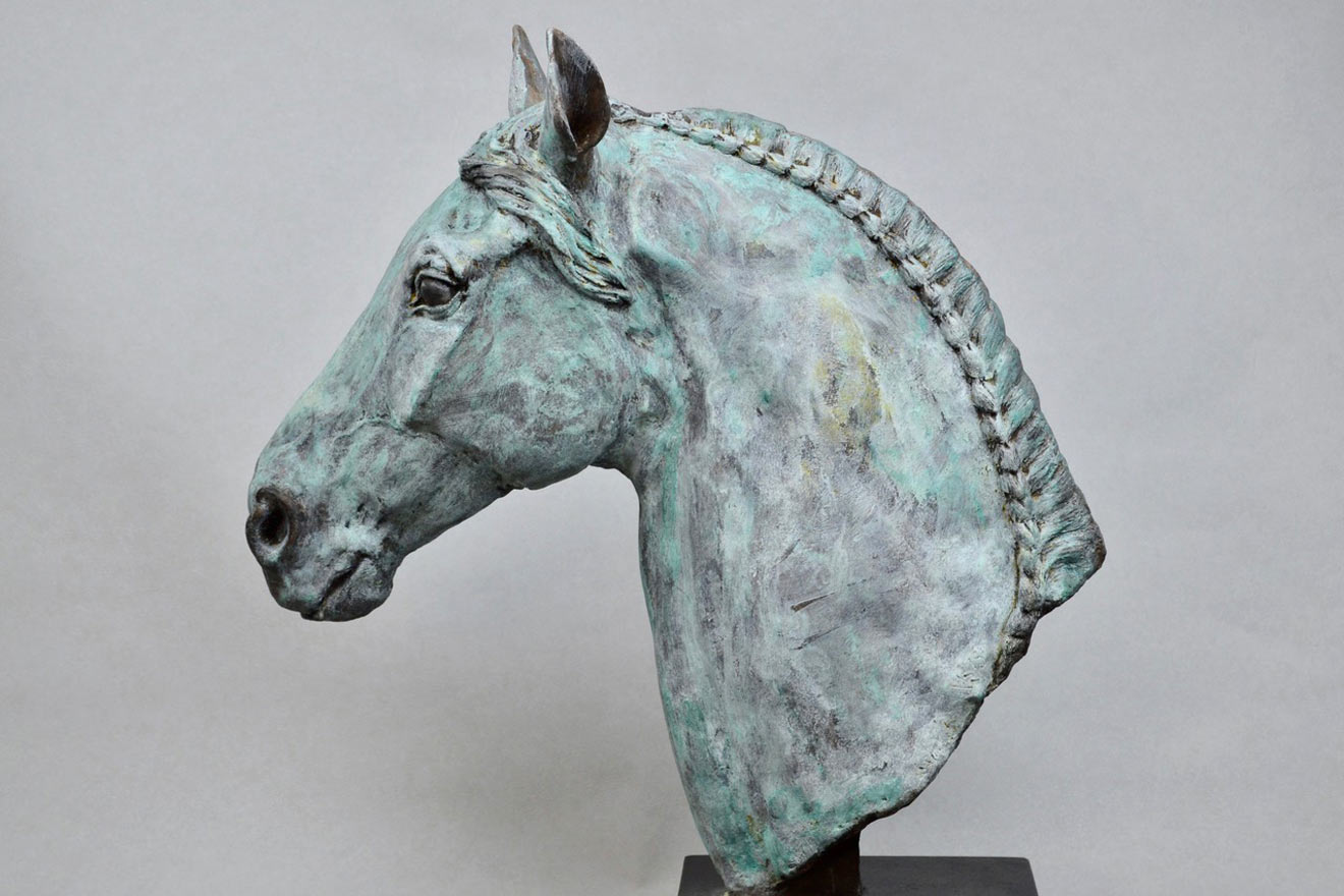 Horse Head V - Image 3 : A study in patinated bronze jesmonite by Kate Woodlock