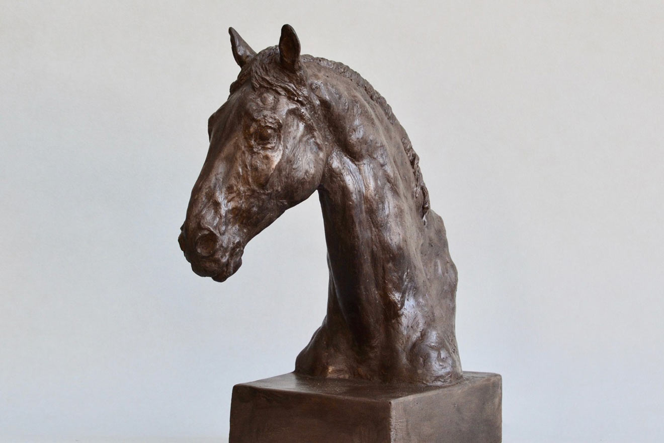 Horse Head IX - Image 2 : A study in bronze jesmonite by Kate Woodlock