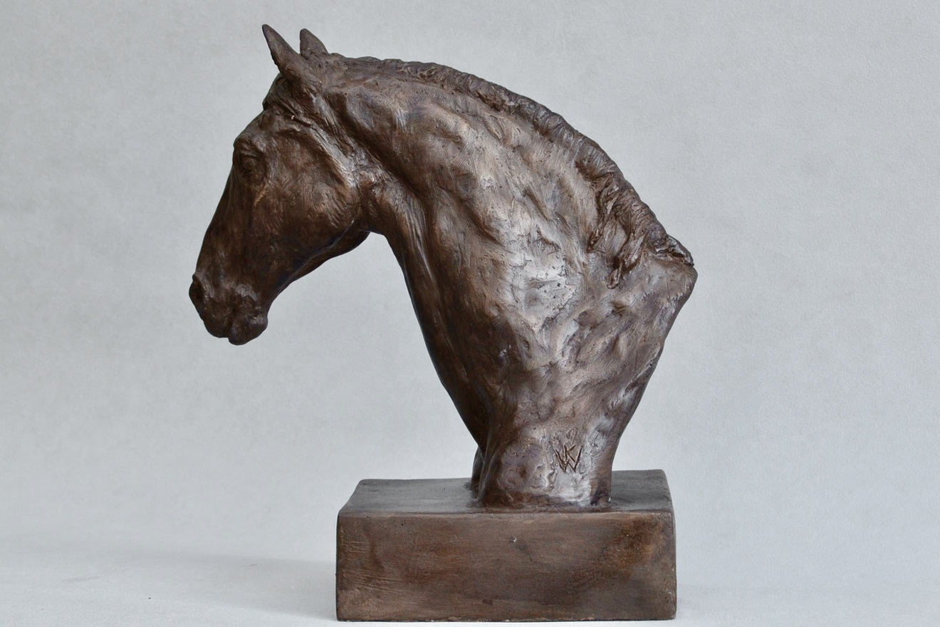 Horse Head IX - Image 3 : A study in bronze jesmonite by Kate Woodlock