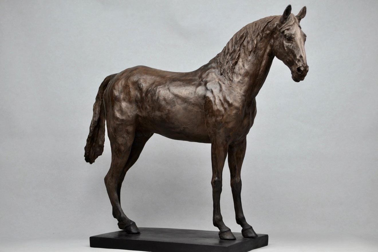 Standing Horse IV - Image 1 : A sculpture in bronze jesmonite by Kate Woodlock