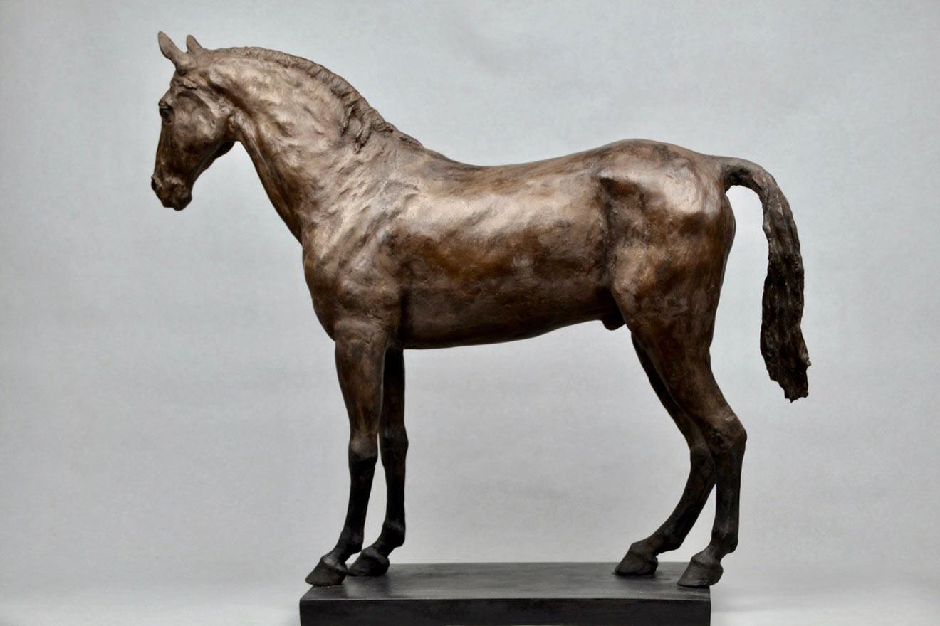 Standing Horse IV - Image 3 : A sculpture in bronze jesmonite by Kate Woodlock
