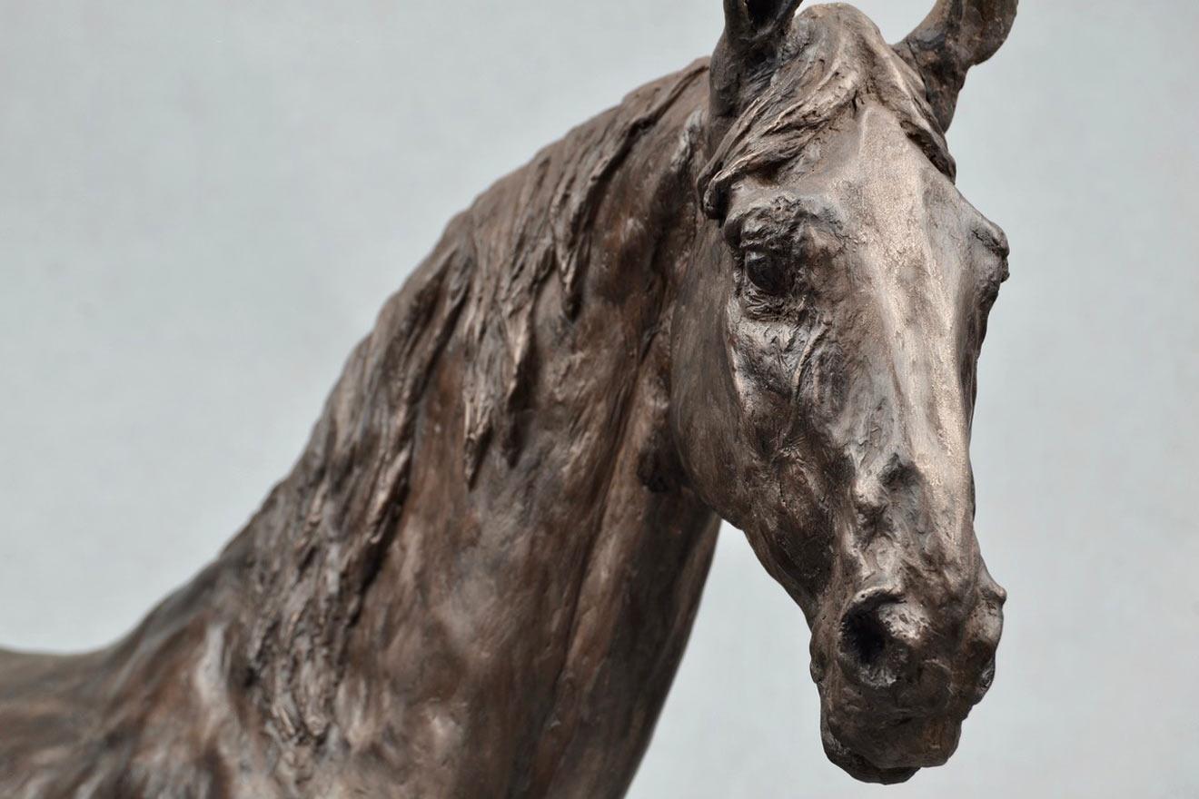 Standing Horse IV - Image 2 : A sculpture in bronze jesmonite by Kate Woodlock