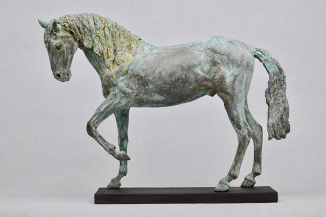 Horse Study IV - Image 3 : A sculpture in patinated bronze jesmonite by Kate Woodlock