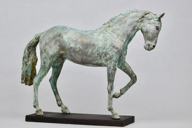 Horse Study IV - Image 1 : A sculpture in patinated bronze jesmonite by Kate Woodlock