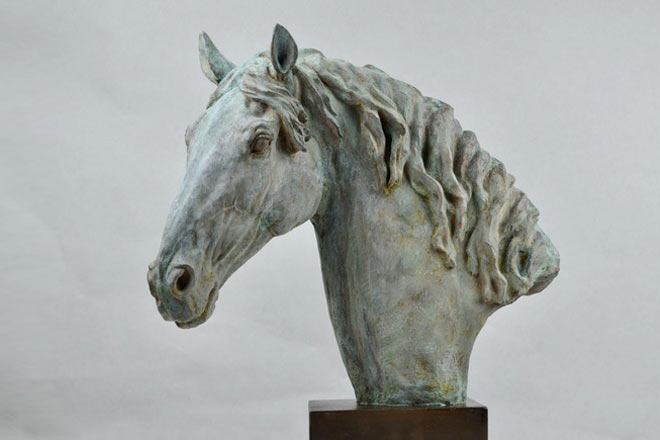 Horse Head X - Image 3 : A study in patinated bronze jesmonite by Kate Woodlock