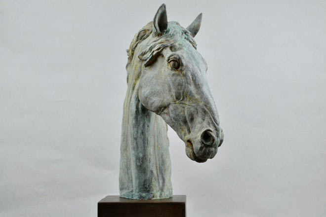 Horse Head X - Image 2 : A study in patinated bronze jesmonite by Kate Woodlock