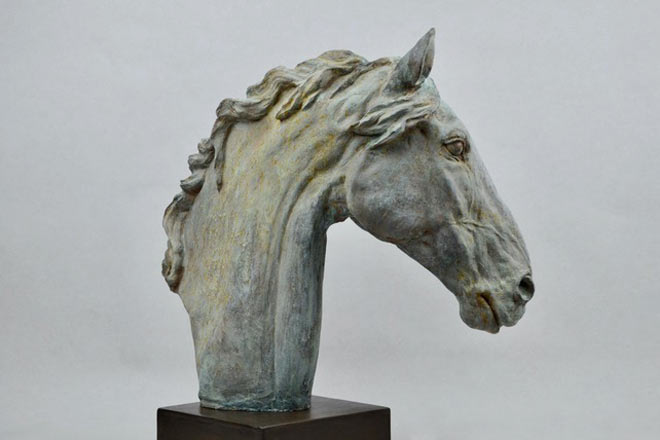 Horse Head X - Image 1 : A study in patinated bronze jesmonite by Kate Woodlock