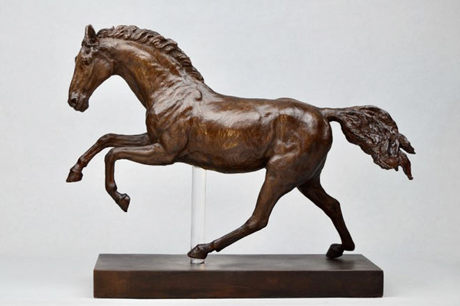 Horse Study V - Image 3 : A study in bronze jesmonite by Kate Woodlock