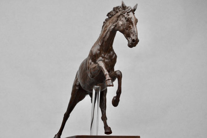 Horse Study V - Image 2 : A study in bronze jesmonite by Kate Woodlock