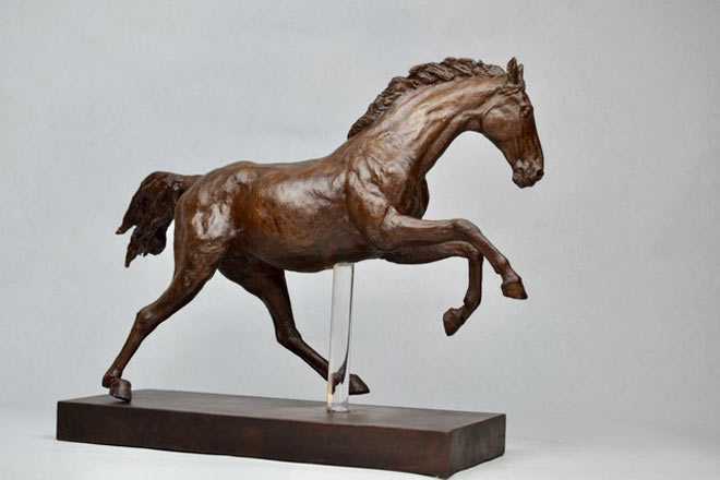 Horse Study V - Image 1 : A study in bronze jesmonite by Kate Woodlock